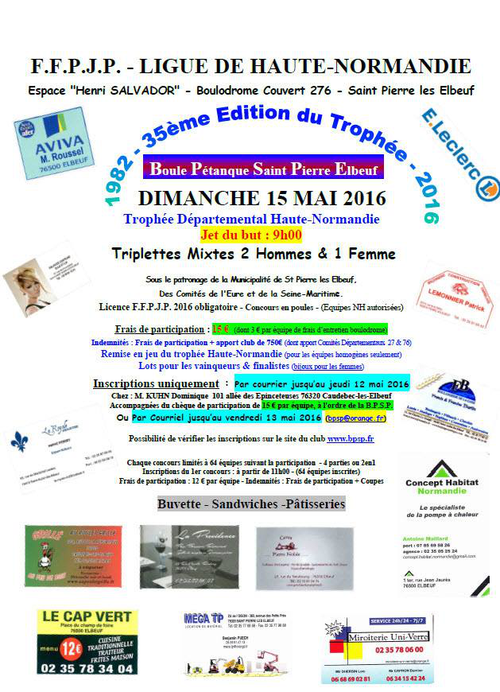 concours de p tanque officiel saint pierre l s elbeuf 15 mai 2016 triplette mixte. Black Bedroom Furniture Sets. Home Design Ideas
