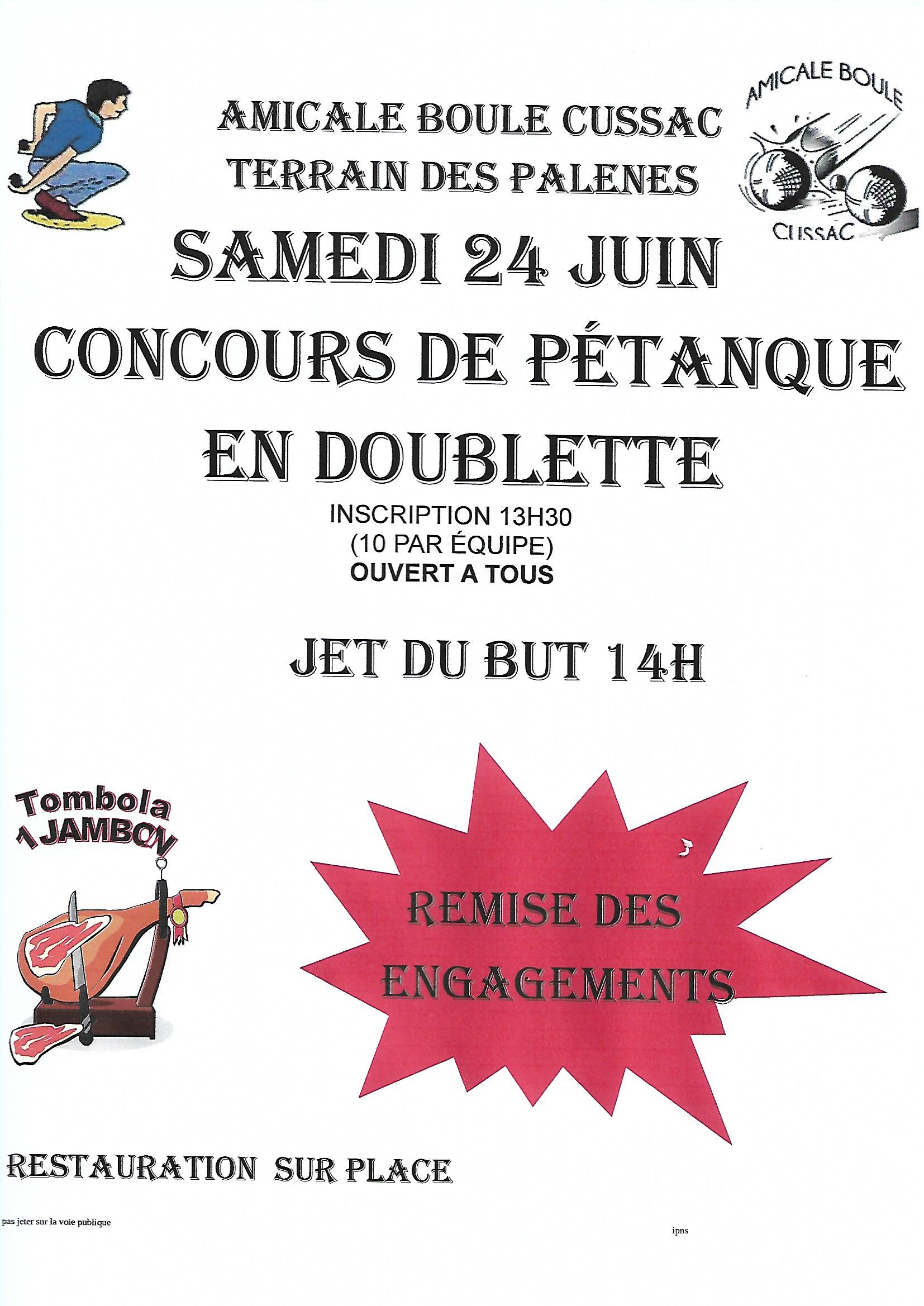 Concours de p tanque ouvert tous cussac 24 juin 2017 for Choisir des boules de petanque