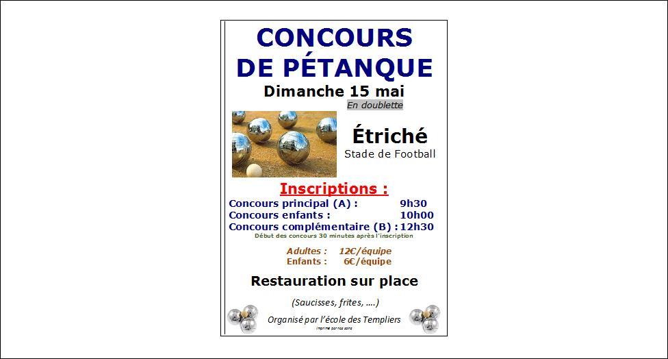 Concours de p tanque ouvert tous trich 15 mai 2016 for Choisir ses boules de petanque